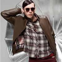 Free Shipping Fashion Men Spring Jacket Causal Patchwork PU Leather Jacket Motorcycle Jackets  Black/Grey Size M  L XL