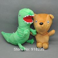 "Free Shipping 10/Lot Cute 2 PCS Peppa Pig Plush Doll Stuffed Toy Peppa's Bear& GEROGE's Dinosaur 6.5"""
