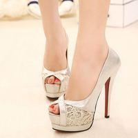 Lace high-heeled shoes paillette cutout shallow mouth open toe shoe thin heels high-heeled shoes women's shoes single shoes
