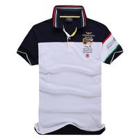 Top Quality  Polo Men Casual Shirt Embroidery Aeronautica Militare Camisas Masculinas Polo Cotton Short Sleeve Shirts [K805]