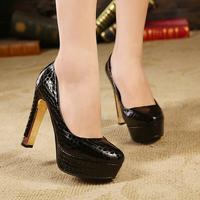 Ultra high heels single shoes women's high-heeled shoes thick heel fashion serpentine pattern shoes women's platform shoes