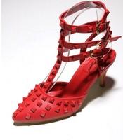 2014 fashion rivet thin heels pointed toe high-heeled single shoes a829-1