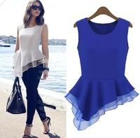 Free Shipping 2014  M L XL XXL fashion women o neck sleeveless irregular bottom plus size chiffon tank top