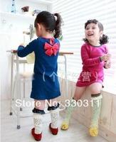 wholesale Spring Girls long-sleeved dress  children beautiful bow dress 2 colour 90-130 5pc/lot