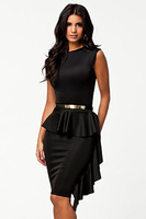 new  women work wear vestido de festa Black One-Side Draped Stylish Peplum elegant short party dresses with belt LC21158