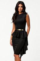 new arrival 2014 fall women work wear  Black One-Side Draped Stylish Peplum elegant short party dress with belt vestido de festa
