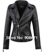 women's coats 2014 fashion female short design genuine leather jacket sheepskin leather motorcycle clothing outerwear plus size