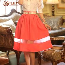 2014 verão comprimento mulheres saia fêmea joelho saia saia plissada(China (Mainland))