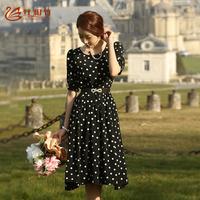 2014 summer one-piece dress summer half  sleeve print polka dot o-neck chiffon long dress