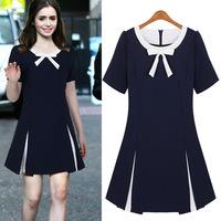 Fashion women's 2014 summer slim female bow o-neck short-sleeve chiffon one-piece dress 8296