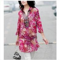 New 2014 Women summer stand collar bohemia national trend ultra-thin chiffon shirt loose plus size one-piece dress FF22
