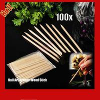 Wholesale nail art pen 100 Pieces/pack Professional Nail Art Pedicure Manicure Tool Teak Wood Stick Dotting Pen