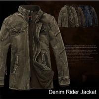 2014  Winter  Brand Men Thicken Denim Jacket Coat Casual Winter Jacket Coat For Mens Plus Size Denim Coat  4 color 5 size