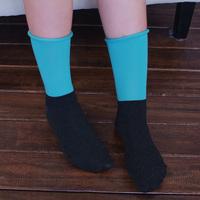 Platinum socks female socks vintage roll-up hem socks long design patchwork colorful socks