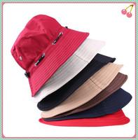 5pcs/lot Spring Summer Men and Women Fashion Outdoor Climbing Fishing Hat Bucket Hat Foldable Rope Round Flat Cap Sun Hat
