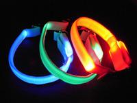 100Pcs/Lot LED Nylon Puppy Dog Collars Night Safety Light Up Dog Cat Collars Free Shipping