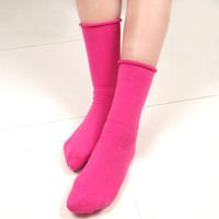 Platinum socks female 100% cotton socks roll-up hem long design candy color piles of socks 10 double