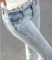 2014 spring light color pencil skinny pants rhinestones wearing white elastic jeans female