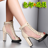 Sexy gauze open toe shoe high sandals genuine leather strap coarse high-heeled shoes platform women's shoes