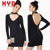 2014 Brand New haoyouduo women clothes black slim hip dress iron chain decoration halter-neck one-piece dress