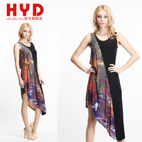 2014 Brand new haoyouduo women dress Irregular sweep patchwork print o-neck sleeveless Dress