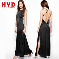 2014 Brand new haoyouduo women dress cross suspenders fashion spaghetti strap sweep slim one-piece dress