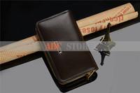 Best quality Grade imported men leather wallets multi-function Upscale gift wallet men long design smart phone bag 0001