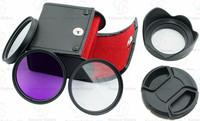 52mm UV  CPL  FLD Filter Kit for Nikon D5200 D5100 D3200 D3100 + Petal Flower Lens Hood + Center-Pinch lens cap