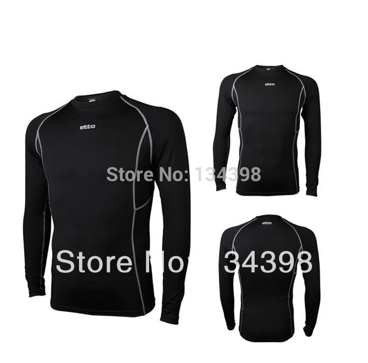 Elastic sportswear men basketball football sports fitness clothing long sleeve T-shirt straitjacket Brazilian shirt Brazil black(China (Mainland))