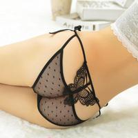 Women's lacing sexy panties embroidery butterfly trigonometric temptation transparent lace panties