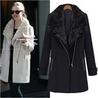 2014 Women Coat  plus size winter fur collar thickening thermal british style medium-long woolen overcoat outerwear female RU011