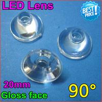 50pcs/lot Free Shipping20mm led lens glass gloossy surface len High Power LED Optical glasses Lens 90 Degree for1W3W LEDs holder