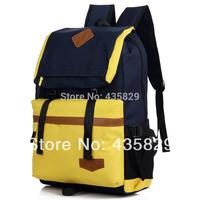 Hot sale: 2014 Preppy style lovers backpack school bag color block computer backpack Canvas