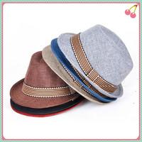 5pcs/lot British Style Children's Linen Jazz Hat Boys and Girls Performing Fedoras Bucket hat Kids Stingy Brim Hat Caps 5 Colors