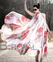 Elegant Women Chiffon Floral Sleeveless Evening Party Beach Maxi Long Dress