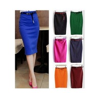 New Candy color sexy elastic slim high waist slim hip step skirt pencil skirt bust skirt polka dot with belt sash