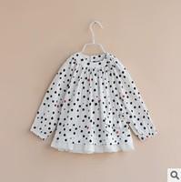 2014 spring girls fashion polka dot blouses girls cotton polka dot chiffon long sleeve blouses kids blouse chilrdrens clothes