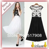New 2014 summer dress women Chiffon plate flower long dress cultivate one's morality maxi dresses