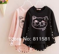 Free Shipping !!! 2014 Baby Girls Dresses Children Long Sleeve Cute Dot Bow Cat Dress Kids Clothing