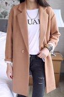 Self-restraint peggy coveredbuttons medium-long brief loose wool coat woolen outerwear