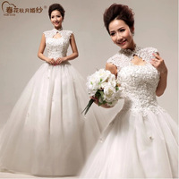 2014 latest women wedding dress handmade beaded shoulder bridal gown vintage lace ball gown