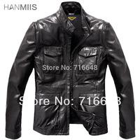 Free shipping spring  leather jacket sheepskin thin slim motorcycle leather coat men's leather clothing