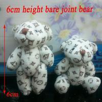 <100pcs/lot H=6cm> Fashion Pendant  Mini cloth Bare Joint Bear Doll Cell Phone Pendant Cartoon Plush Stuffed Toy Doll