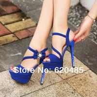 Free shippig Ultra high sandals summer rhinestone thin heels sexy single shoes open toe shoe fashion high-heeled shoes princess
