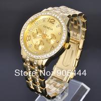 New GENEVA Crystal Golden Case Mens Anlaog Quartz Wrist Metal Band Watch W042