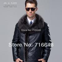Sheepskin wool one piece genuine leather fur clothing male calf skin leather men's clothing large fur collar