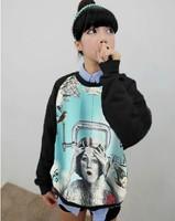 Harajuku sweatshirt vintage t-shirt female long-sleeve loose