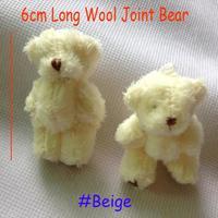 Wholesale H=6cm 100pcs/lot Cartoon Long Wool Plush Mini Joint Bear Bare Teddy Bear For Key/Phone/Bag Stuffed Dolls #Beige