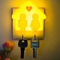 2 pcs,Love key chain ring LED night light bedroom corridor hall romantic wall key chain lamp 2 in 1,Brazil's valentine's Day