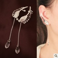 Fashion fairy wings imitation crystal long no pierced clip screw clip earrings ear hook female